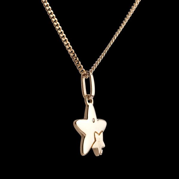 Dwie Gwiazdy - mały model - złoto żółte 18-karatowe