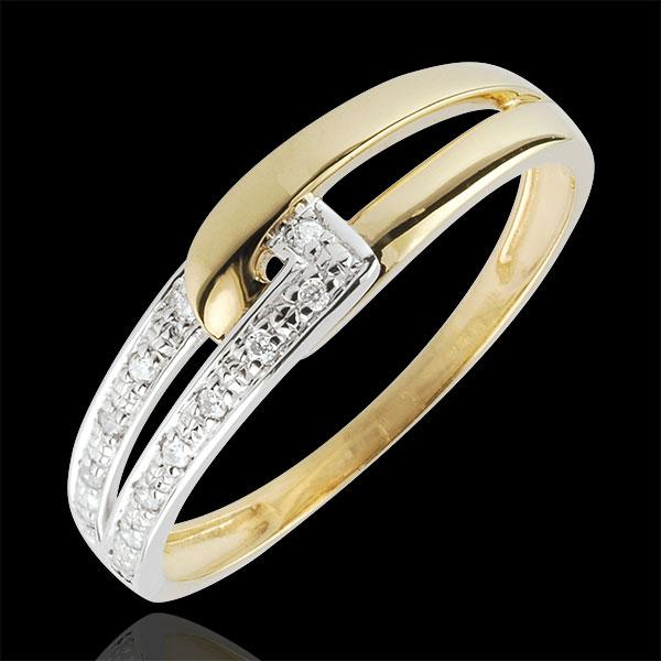 Dwukolorowy pierścionek Harmonijne Połączenie - złoto białe i złoto żółte 9-karatowe