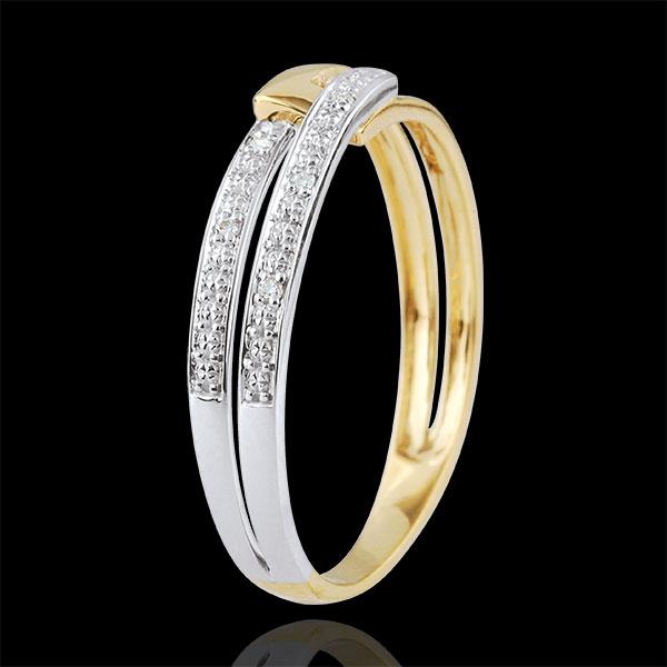 Dwukolorowy pierścionek Połączenie Tandem - złoto białe i złoto żółte 9-karatowe