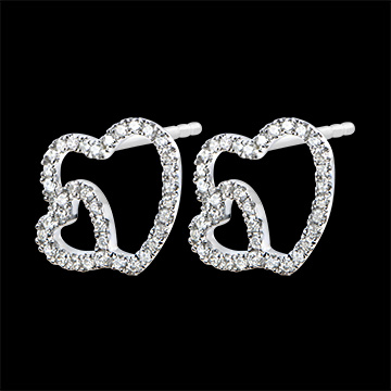 Earrings Abundance - Double Heart - white gold 9 carats and diamonds