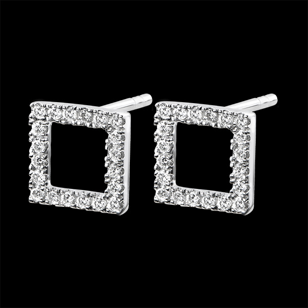 Earrings Abundance - Enchanted Square - white gold 18 carats and diamonds