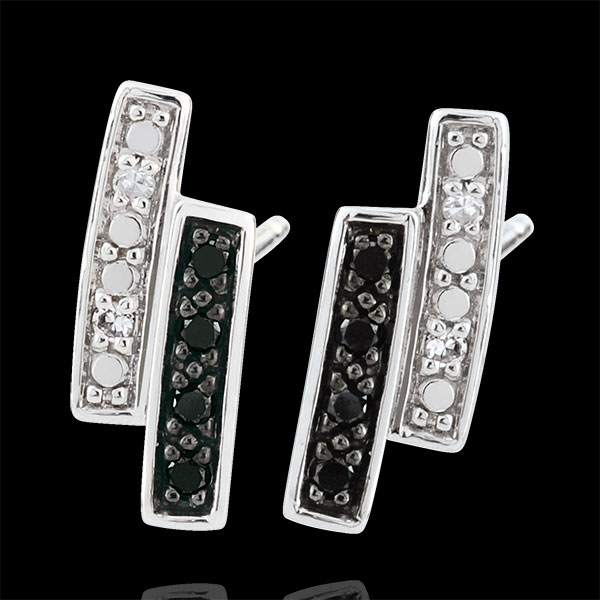 Earrings Clair Obscure studs - white gold, black diamond