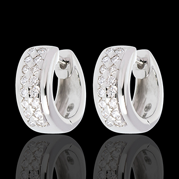 Earrings Constellation - Astral - small size - paved white gold - 0.22 carat - 32 diamonds