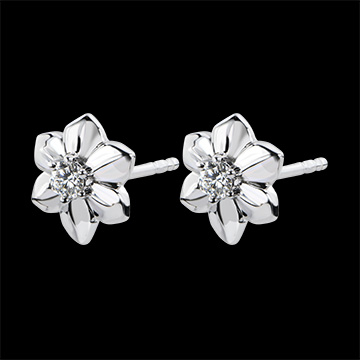 Earrings Eclosion - Dahlia - white gold 9 carats and diamond