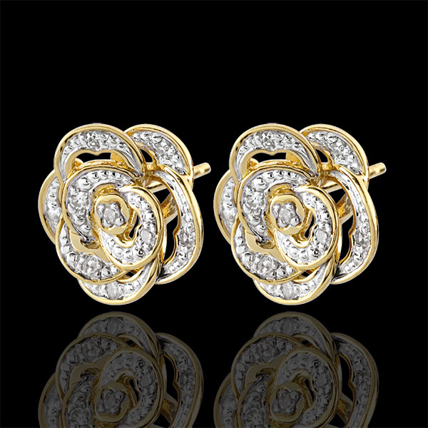 Earrings Eclosion - Pink Lace - white gold, yellow gold and diamonds