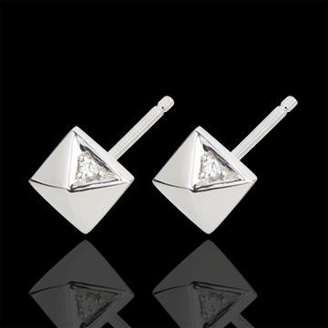 Earrings Genesis - Rough Diamonds - white gold - 9 carat