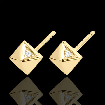 Earrings Genesis - Rough Diamonds - yellow gold - 9 carat