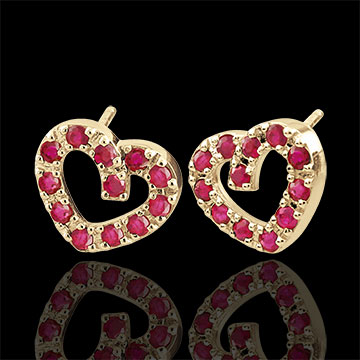 Festive Ruby Heart Earrings