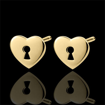 Earrings Precious Secret - Heart - Yellow Gold