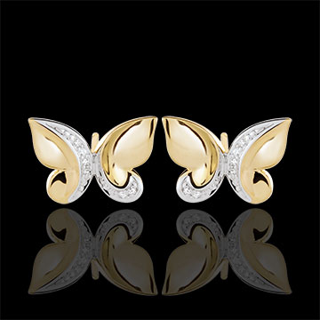 Earrings Imaginary Walk - Butterfly Cascade - yellow gold and diamonds