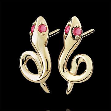 Earrings Imaginary Walk - Mini Serpent - ruby