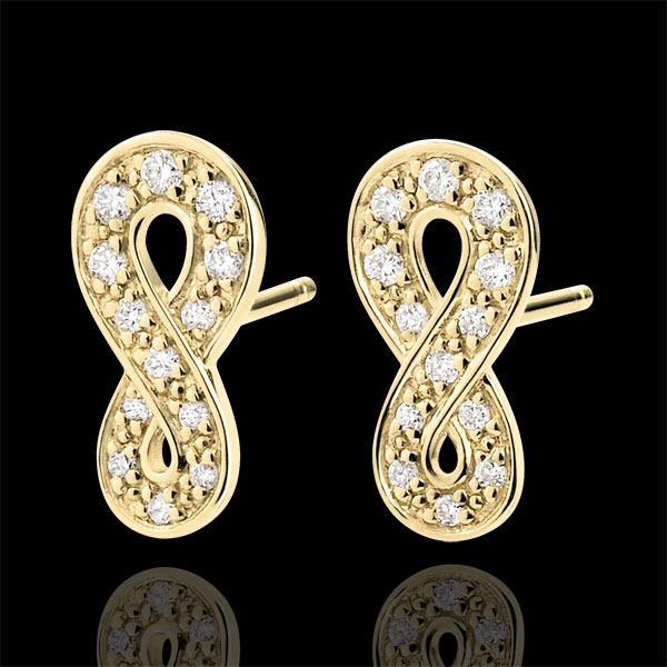 Earrings Infinity - Yellow gold and diamonds