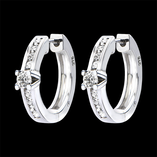 Earrings Origin - Channel Setting - white gold 18 carats and diamonds