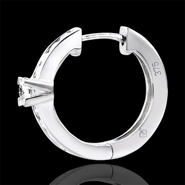Earrings Origin - Channel Setting - white gold 9 carats and diamonds