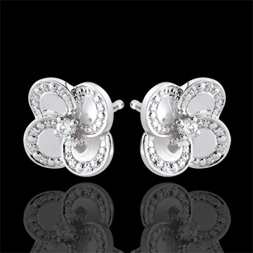 Earrings Eclosion - White Clover - gold and diamonds