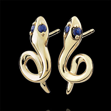 Earrings Imaginary Walk - Mini Serpent - sapphire