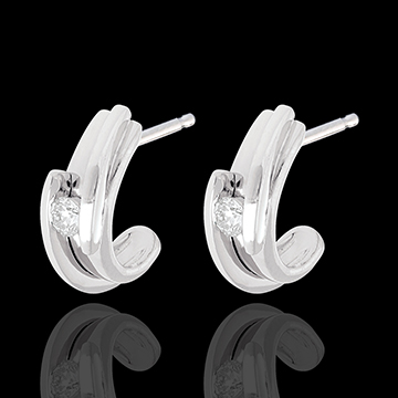 Contemporary arch earrings-white gold