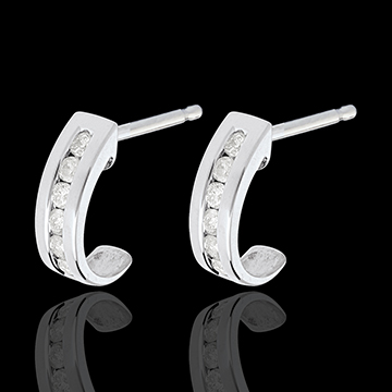Half-moon earrings paved white gold - 0.22 carat - 12 diamonds