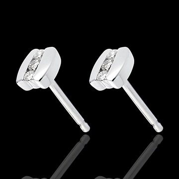 Earring Trilogy Precious Nest - Parenthese - white gold - 6 diamonds - 18 carats