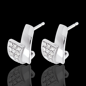 Tropical earrings paved white gold - 24 diamonds