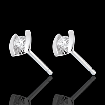 Caldera Stud Earrings - white gold diamond studs - 0.21 carat