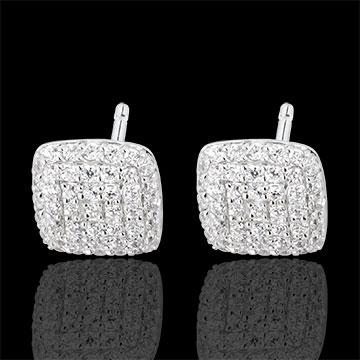 White Gold and Diamond Cushion Earrings
