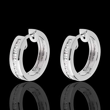Hoops white gold inlaid diamonds - 0.24 carat - 22 diamonds