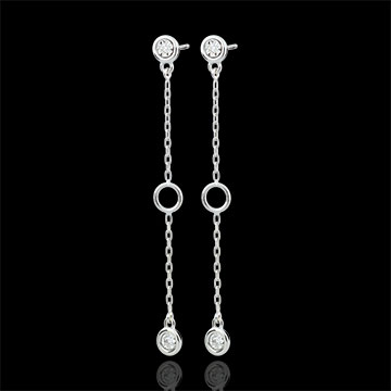 White Gold Satin Earrings