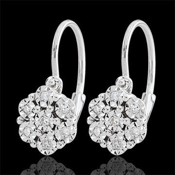 Earrings Freshness - Flower Snowflake - 14 diamonds and white gold