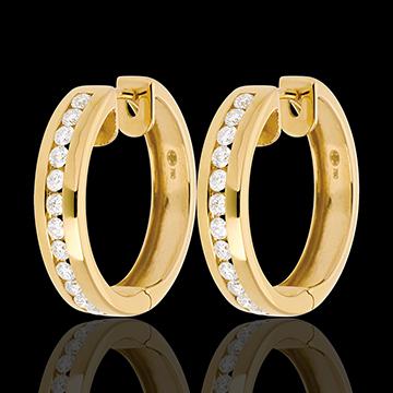 Yellow gold hoops mounted with diamonds - 0.43 carat - 24 diamonds