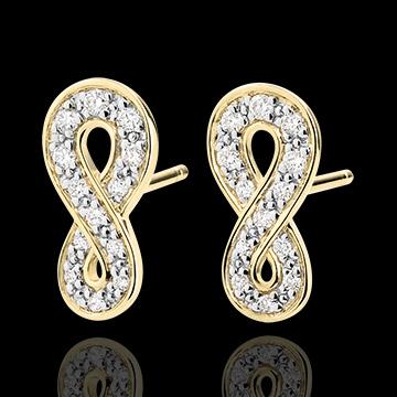 Earrings Infinity - Yellow gold and diamonds