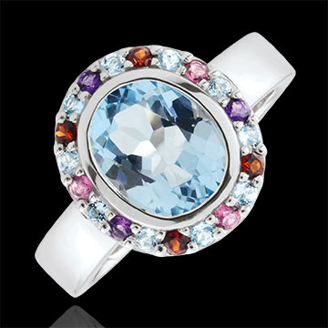 Eden's Flower Ring - Silver and fine stones