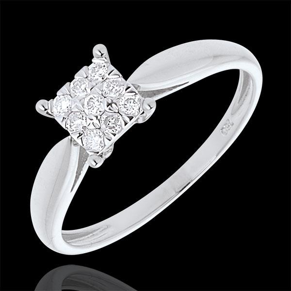 Elegance ring white gold square paved - 9diamonds