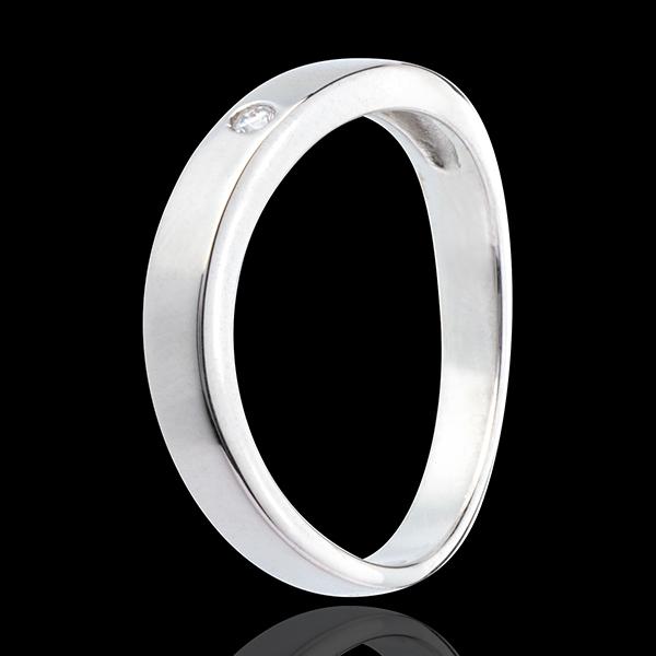 Eliptyczna obrączka z białego złota 18-karatowego z 1 diamentem