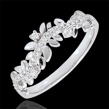 Enchanted Garden Ring - Royal Foliage - Diamond and White gold - 9 carat
