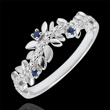 Enchanted Garden Ring - Royal Foliage - White gold, diamonds and sapphires - 18 carats