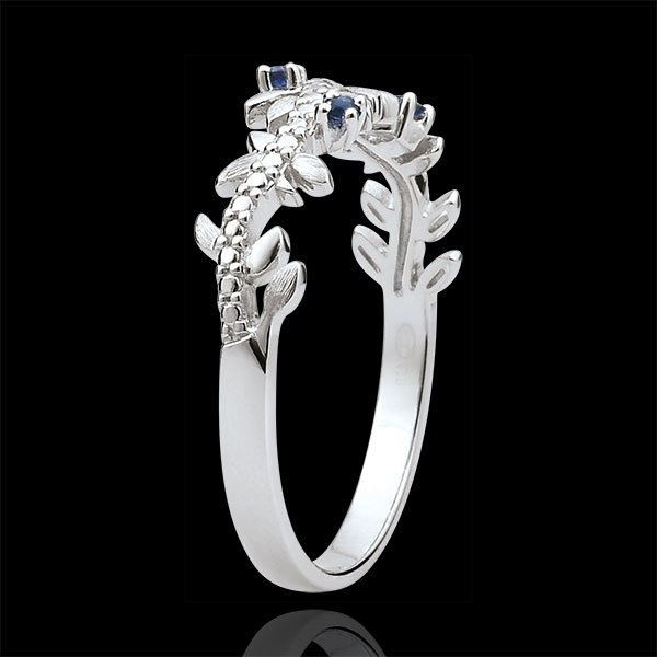 Enchanted Garden Ring - Royal Foliage - White gold, diamonds and sapphires - 9 carats