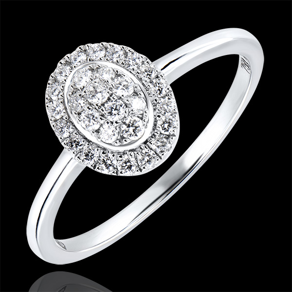 Engagement Ring Abundance - Cluster - white gold 9 carats and diamonds