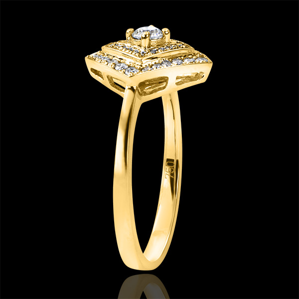 Engagement Ring Abundance - Double Geometric Halo - yellow gold 18 carats and diamonds