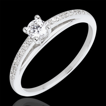 Engagement Ring - Avalon - 0.195 carat diamond - white gold and diamond