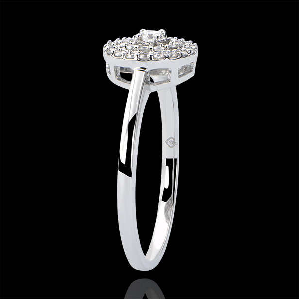 Engagement Ring Origin - Double Halo - white gold 9 carats and diamonds