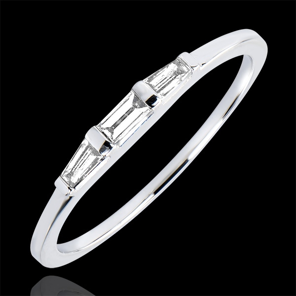 Engagement Ring Origine - Trilogy Biela - white gold 9 carats and diamonds