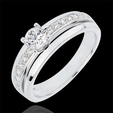 Engagement Ring Solitaire Destiny - My Queen - large size - white gold - 0.33 carat diamond