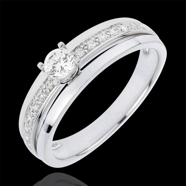 Engagement Ring Solitaire Destiny - My Queen - small size - white gold - 0.20 carat diamond