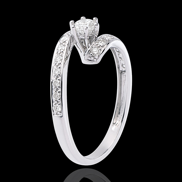 Engagement Ring Solitaire Destiny - Nefertiti - white gold - 0.27 carat diamond