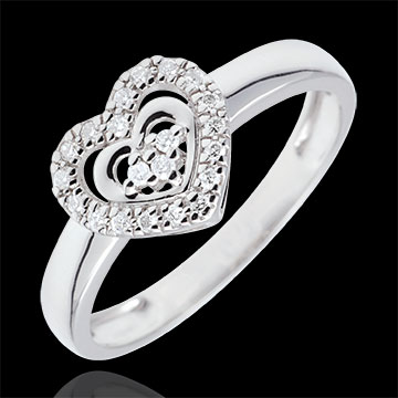 White Gold Paris Heart Ring