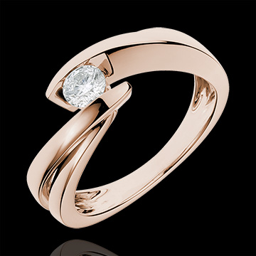 Solitaire Ring Precious Nest - Wave - Pink gold - 0.27 carat diamond - 18 carats