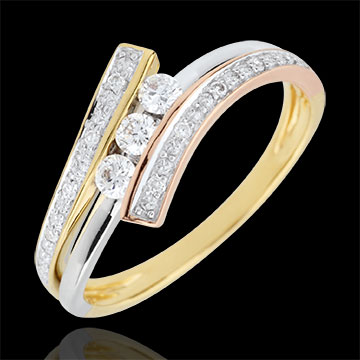 Trilogy Ring Precious Nest - Odinia - Tri-colour Gold - 9 carats
