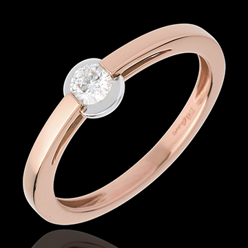 Solitaire Ring rose gold ring - bezel setting