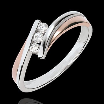 Engagement Ring Precious Nest - Trilogy diamonds - pink gold. white gold - 3 diamonds - 18 carats